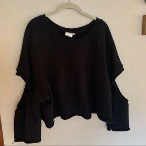 Good American Cropped Black Sweatshirt